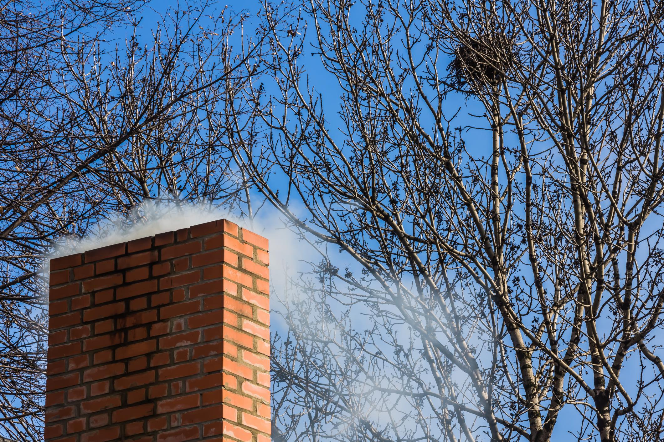 This is a picture of a brick chimney and fireplace repairs.